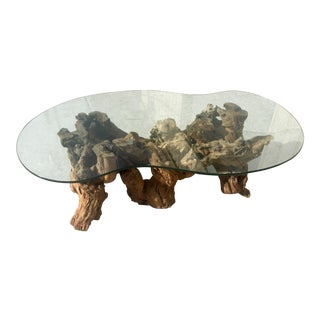 1960s Boho Chic Sculptural Driftwood Burl Coffee Table For Sale