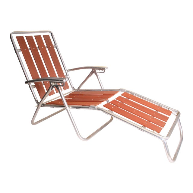 Mid Century Redwood Aluminum Folding Chaise Lounge Chair For Sale