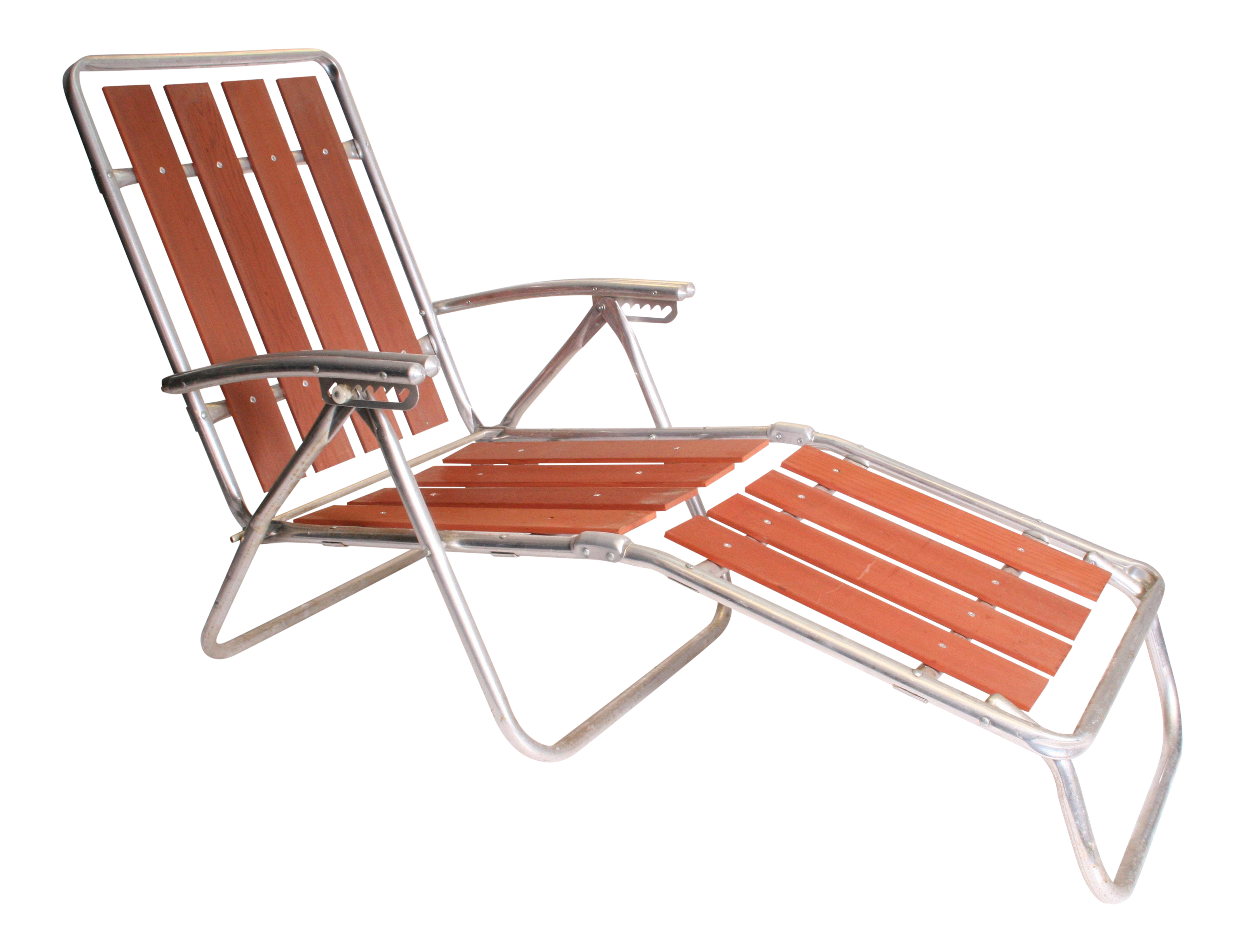 Delightful Mid Century Redwood Aluminum Folding Chaise Lounge Chair