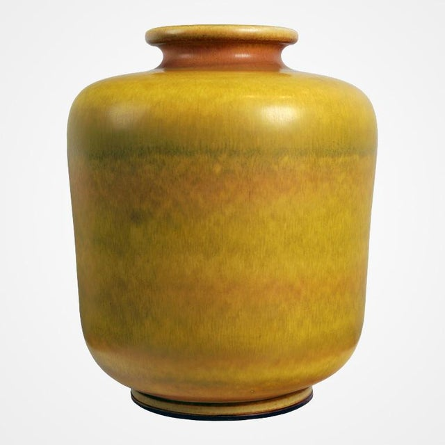 High End Large Yellow Stoneware Vase By Berndt Friberg For