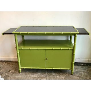 Chinoiserie Avocado Green Faux Bamboo Cabinet/bar Cabinet Preview