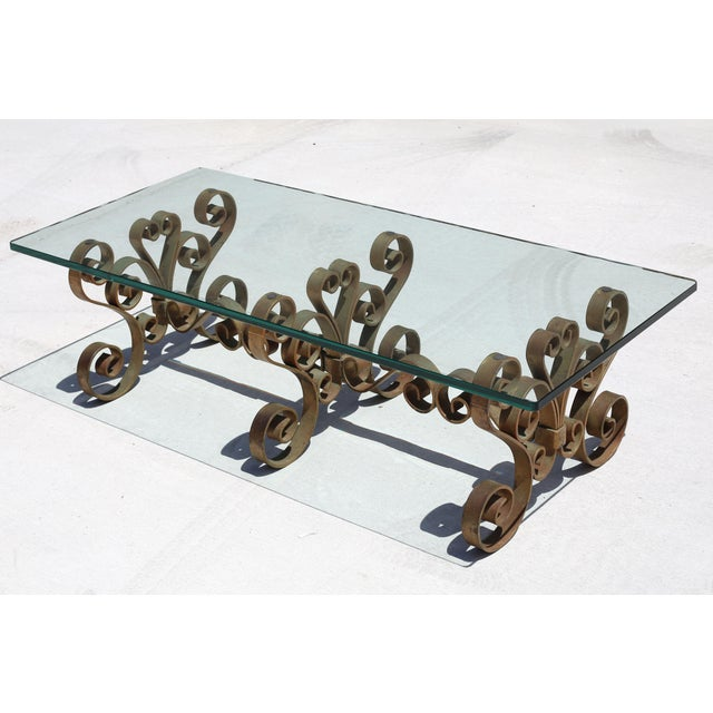 Vintage Iron Scroll Cocktail Table With Thick Glass Top For Sale - Image 9 of 9