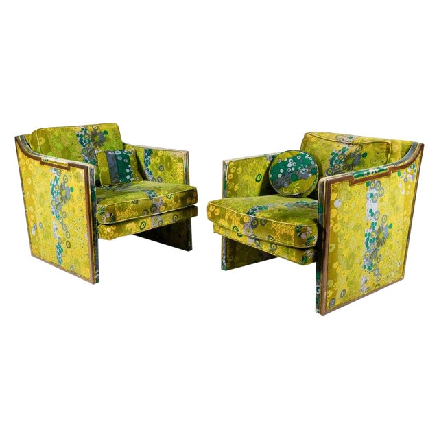 Pair of Sculptural Walnut Lounge Chairs With Jack Larsen Fabric For Sale