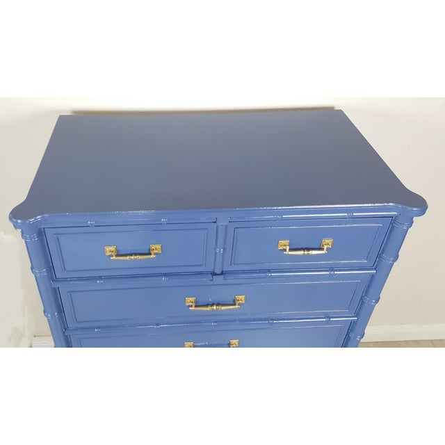 Henry Link Henry Link Hollywood Regency Bali Hai Blue Faux Bamboo Chest For Sale - Image 4 of 7