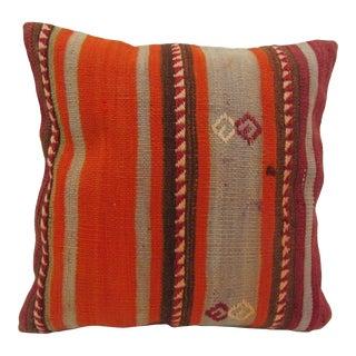 Vintage Turkish Embroidered Striped Orange Kilim Pillow Cover For Sale