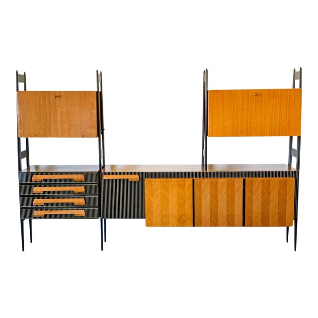 Large Italian Modern Wall Unit, Italy, 1950's For Sale
