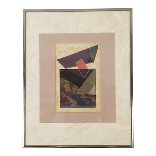 1980 v. Respress Geometric Art Collage Painting . For Sale