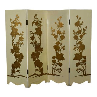 Painted Off White Hollywood Regency BoHo Chic Four Panel Folding Screen With Floral Embossed Design For Sale