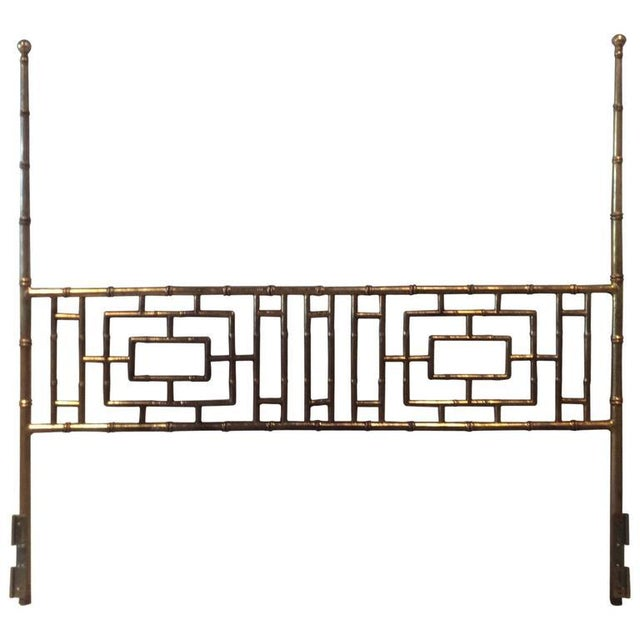 Vintage Faux Bamboo Chinese Chippendale King-Size Headboard For Sale - Image 11 of 11