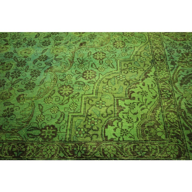 "Lime Green Overdyed Tabriz Area Rug - 9'5"" x 12' - Image 6 of 10"