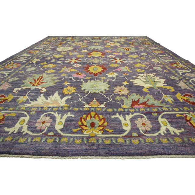 "Purple Colorful Contemporary Turkish Oushak Rug - 11'4"" X 15'6"" For Sale - Image 8 of 10"
