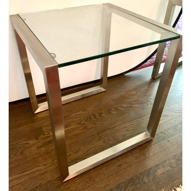 Early 21st Century Ethan Allen Mid-Century Style Chrome and Glass End Table, Pair For Sale - Image 5 of 6