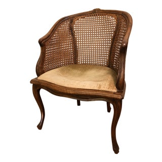 Vintage French Double Cane Berger Accent Chair For Sale