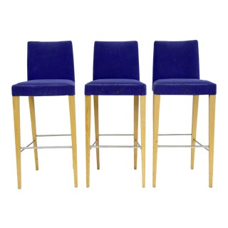 Contemporary Blue Upholstery With White Oak Legs Barstools - Set of 3 For Sale