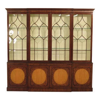 Baker Mahogany & Satinwood Breakfront Bookcase For Sale