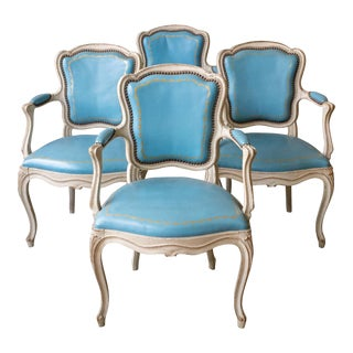 1960s Louis XV Style Blue Leather Armchairs - Set of 4 For Sale