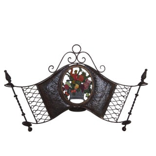 Deco Style Floral Iron Wall Candle Sconce For Sale