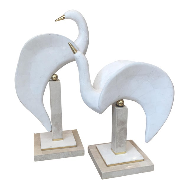 Maitland-Smith Tessellated Stone/Brass Swans - A Pair For Sale