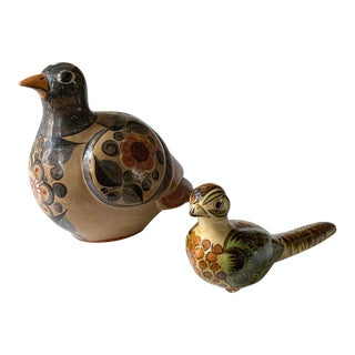 Pair, Vintage Mexican Painted Clay Birds For Sale