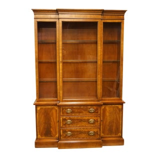 1940's Hepplewhite Mahogany Blockfront Display China Cabinet For Sale