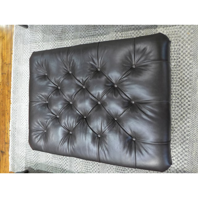2010s Modern Dark Leather Tufted Ottoman/Coffee Table For Sale - Image 5 of 9