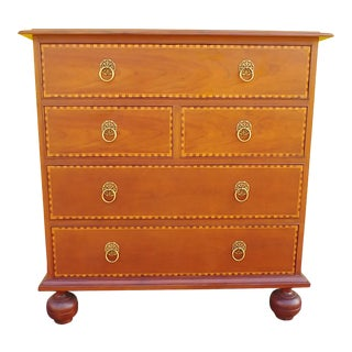 Baker Milling Road English Style Burl Walnut Chest 5 Drawers For Sale