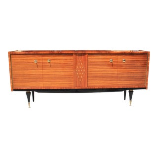 French Art Deco Light Macassar bony Sideboard with diamond Mother-of-Pearl Center Circa 1940s