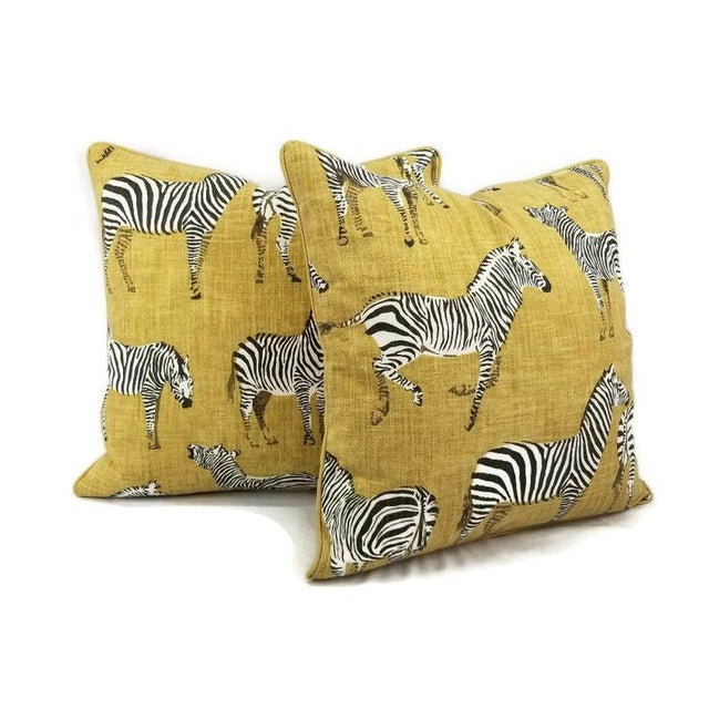 """Home Accents Ronnie Gold Africana in Gold Cotton Zebra Print Pillow Covers - a Pair, 20"""" X 20"""" For Sale - Image 9 of 9"""