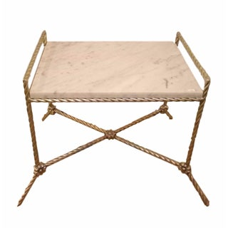 Twisted Silver Gilt Metal Bench/Side Table For Sale