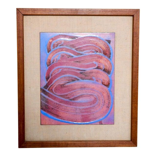 Mid Century Modern Abstract Enamel Art, Framed, Pedro Coronel Era For Sale