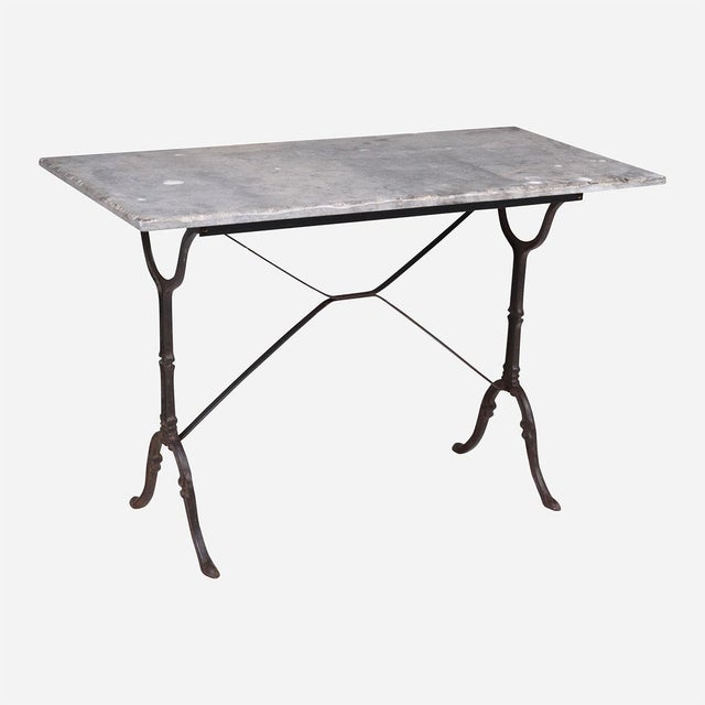 1940s French Blue Stone Bistro Rectangle Table For Sale - Image 5 of 5