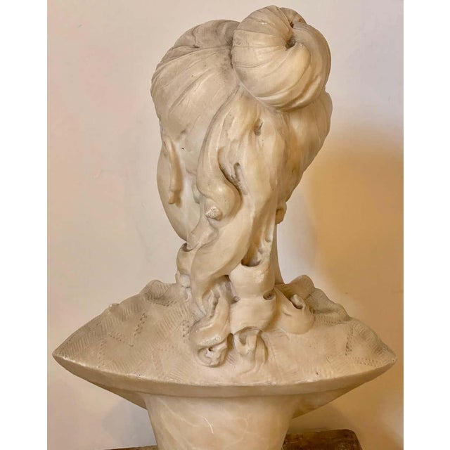 Alabaster Bust of Young Lady and a Bird, 19th-20th Century For Sale - Image 11 of 13