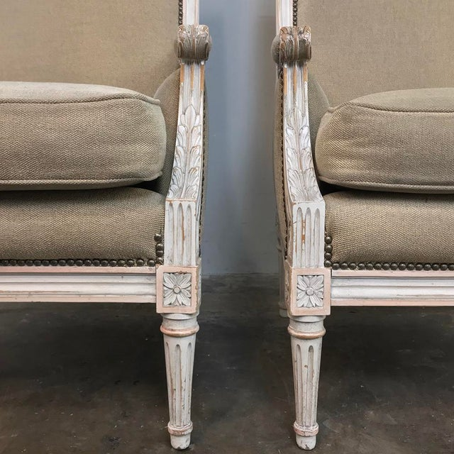 Pair 19th Century French Louis XVI Bergeres ~ Armchairs For Sale - Image 4 of 13