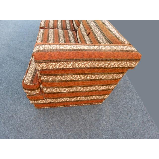 Mid-Century Modern Orange Stripped Sofa - Image 7 of 10