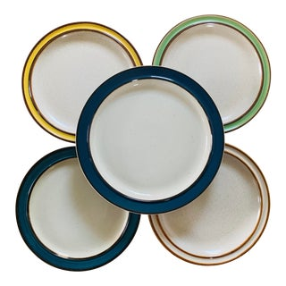 Mismatched 1970's Stoneware Plates - Set of 5 For Sale