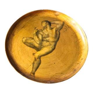 Mid-Century Gilt Michelangelo Print Wooden Plate