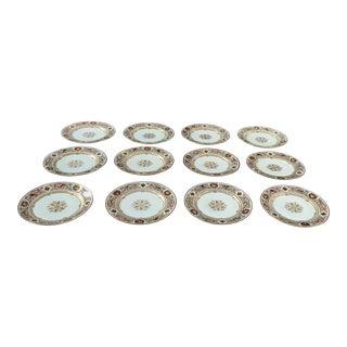 Late 19th Century Sevres Louis Philippe Chateau De Fountain Bleu Plates - Set of 12 For Sale