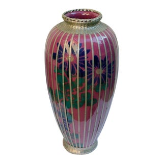 Japanese Silver Plate Overlay Basket Weave Pottery Vase For Sale