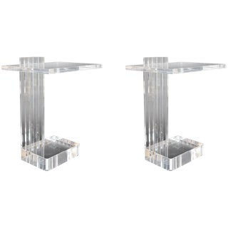 Pair of Acrylic Side Tables by Les Prismatiques For Sale