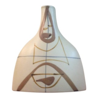 Mid-Century Japanese Vase With Hand Painted Geometric Design For Sale