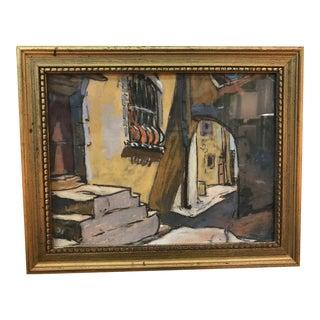 Mid 20th Century European Street Scene Pastel Drawing, Framed For Sale