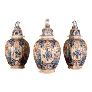 Antique French Delftware Pottery Tinglazed Vases & Covers - Set of 3 For Sale