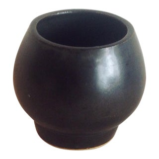 Studio Pottery | Boho Chic Modern Black Sphere Stoneware Vase/Planter For Sale