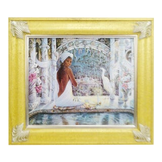 """Tranquility"" Vintage Lithograph on Canvas For Sale"