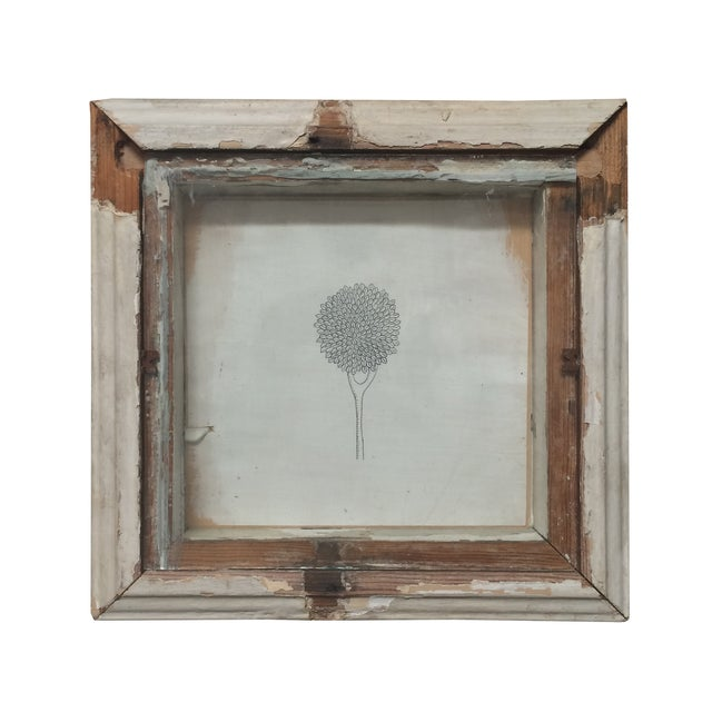 Tony Brown Drawing in Distressed Frame For Sale