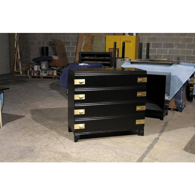 Restored Widdicomb Modern Commode in Black Lacquer For Sale - Image 10 of 11