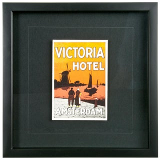 Framed Vintage Hotel Luggage Label - Hotel Victoria Amsterdam