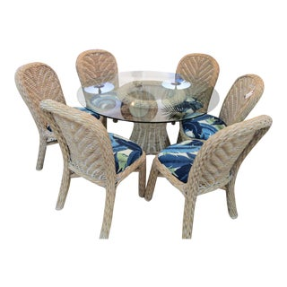 Cottage Whitewashed Rattan Dining Set With Tommy Bahama Upholstery - 5 Pieces For Sale