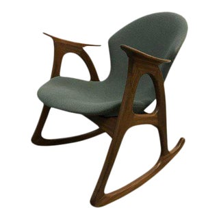 "1960s Danish Modern Aage Christiansen Model A"" Teak Rocking Chair For Sale"