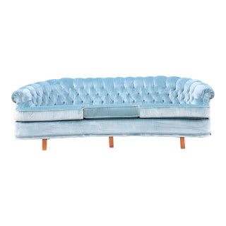 Mid Century Modern Sky Tufted Blue Chesterfield For Sale